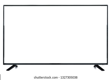 Modern high definition TV. LCD flat monitor with blank chromakey screen, isolated on abstract blurred white background. Technology and 4k television advertising concept. Detailed studio closeup