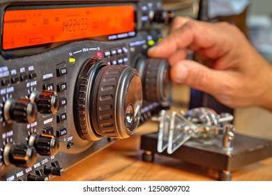 Modern high frequency radio amateur transceiver closeup