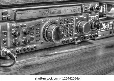 Modern high frequency radio amateur transceiver in black and white
