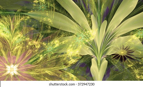 Modern high resolution flower background with large exotic looking flowers with natural looking 3D leaves and a field of smaller ones,all in glowing sepia tinted green,yellow,pink