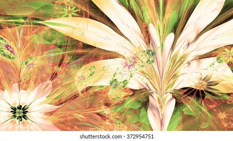 Modern high resolution flower background with large exotic looking flowers with natural looking 3D leaves and a field of smaller ones,all in bright sepia tinted green,yellow,red
