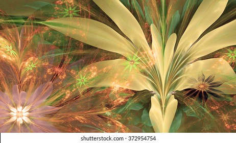 Modern high resolution flower background with large exotic looking flowers with natural looking 3D leaves and a field of smaller ones,all in glowing sepia tinted green,yellow,red