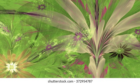 Modern high resolution flower background with large exotic looking flowers with natural looking 3D leaves and a field of smaller ones,all in glowing sepia tinted purple,green,yellow