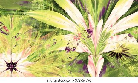 Modern high resolution flower background with large exotic looking flowers with natural looking 3D leaves and a field of smaller ones,all in bright sepia tinted green,yellow,purple