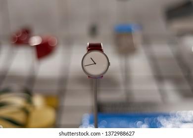 Modern high tech wrist watch (hand watch) in the museum.