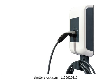 Modern and high technology of transportation electric vehicle charging (Ev) station with plug of power cable supply for Ev car or hybrid isolated on white background with clipping path