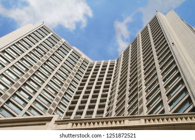 modern high-rise building against the sky. modern skyscraper in Chinese city Dalian. Travel in China. Dalian, China - august 12, 2018