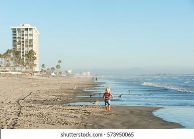 Modern highrise condos on famous Coronado beach near San Diego, CA
