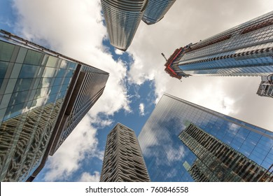 Modern highrise office and residential buildings in the city of Toronto, Canada