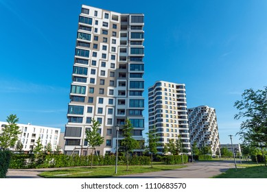 Modern high-rise residential buildings seen in Munich, Germany