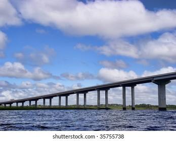 Modern highway bridge connecting a coastal island to the mainland