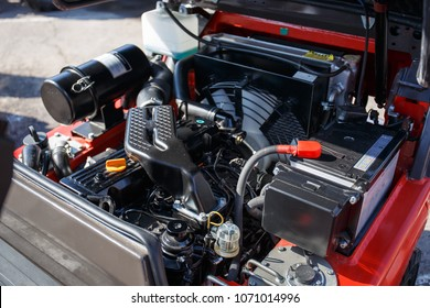 Modern hi-tech engine or motor of industrial loader or combine vehicle or small tractor