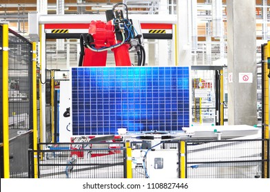 modern hi-tech factory for the production of solar cells - machines and interior