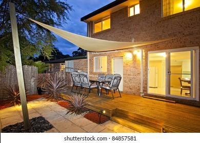 modern home against a blue sky