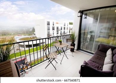 Modern home balcony with view on the city