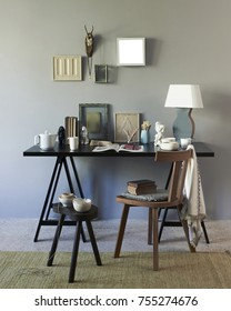 modern home concept with interior room accessories like frame glass books lamp and coffee table