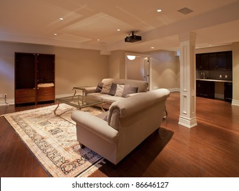 Modern home entertainment room in the basement