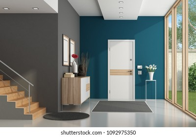 Modern home entrance with front door,large window and wooden stair - 3d rendering