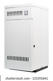 Modern home furnace isolated on white background. Gas floor heater. Boiler for central heating of residential house.