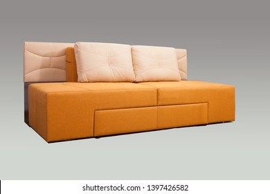 Modern home furniture. Sofa tranformer on a gray background.