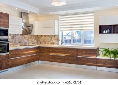 Walnut Kitchen Cabinets Images Stock Photos Vectors Shutterstock