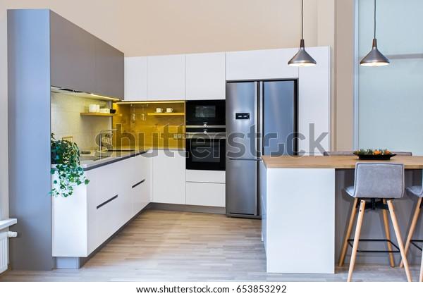 Modern Home Interior Modern Kitchen Design Stock Photo (Edit ...