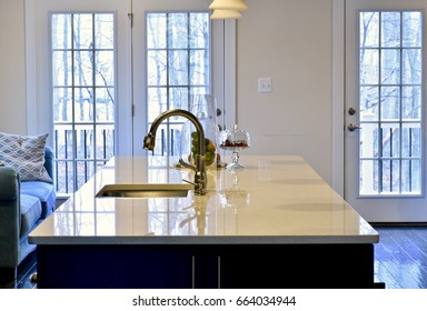 Modern home kitchen interior with beautiful island