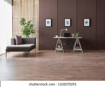 modern home office brown background wall grey sofa and office table with laptop