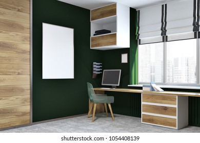 Modern home office corner with dark green and wooden walls, a concrete floor, a computer desk with bookshelves hanging above it and a framed poster on the wall. 3d rendering mock up