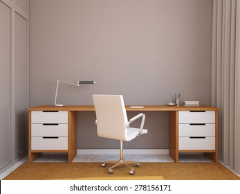 Modern home office interior. 3d render