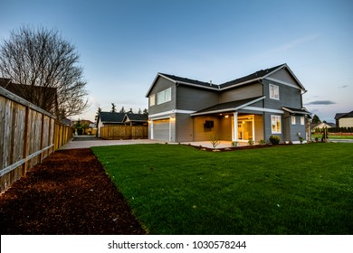 Modern Home in Oregon at Sunset