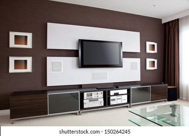 Modern Home Theater Room Interior with Flat Screen TV, modern contemporary apartment with TV