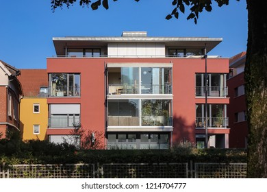 modern homes facades in small town in south germany at autumn sunshine day