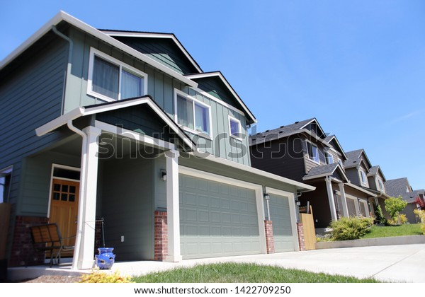 Modern Homes Lined Row On Sunny Stock Photo (Edit Now) 1422709250