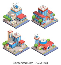 Modern hospital buildings with helicopter pads and emergency transport isometric icons set on white background isolated  illustration