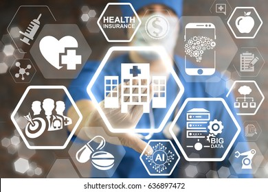 Modern Hospital - Innovation Futuristic Clinic, Information Technology Integration Concept.  Smart Health Care integrate IoT, AI, big data, cloud, Robotic. Intellectual computing medical help.