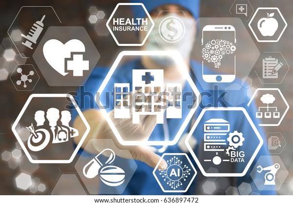 Modern Hospital - Innovation Futuristic Clinic, Information Technology Integration Concept.  Smart Health Care integrate IoT, AI, big data, cloud, Robotic. Intellectual computing medical help.