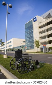 Modern hospital with wheelchair in foreground