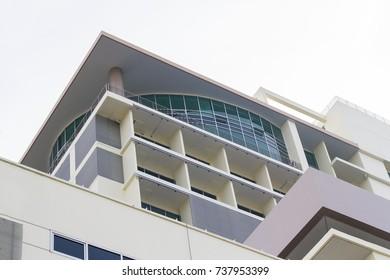 Modern hospital with white background