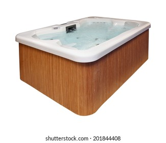 Modern hot tub with wooden frame isolated with clipping path included