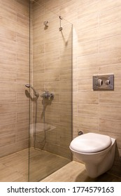 Modern hotel or house toilet bowl and shower interior view