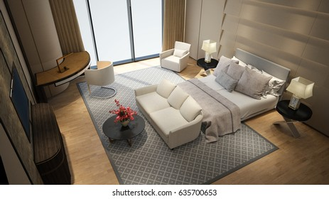 Modern hotel room high angle camera view 3d rendering
