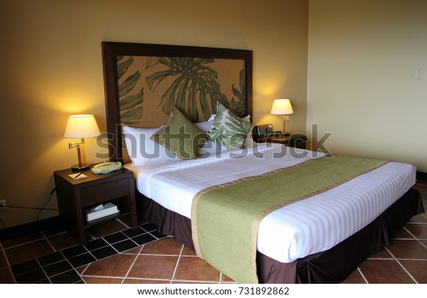 . Modern Hotel Room Queensized Bed Tropical Stock Photo  Edit Now