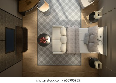 Modern hotel top view 3d rendering
