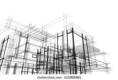 modern house architecture 3d illustration