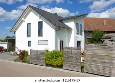 modern house architecture in rural countryside at springtime in south germany near city stuttgart