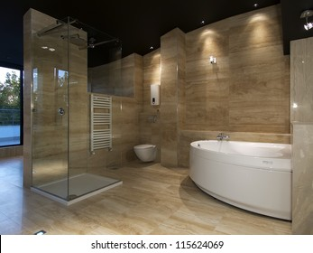 Modern house bathroom interior