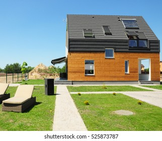 Modern House Construction. Solar water heating (SWH) systems use roof solar panels. Home Skylights, Dormer, Ventilation. Eco Smart House Energy Efficiency.