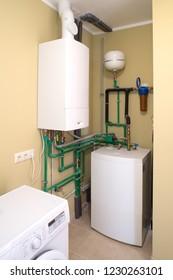 Modern house. Domestic boiler.