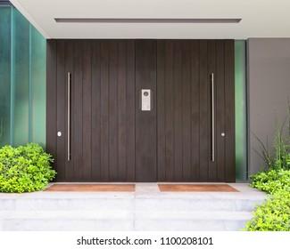 modern house double entrance brown door, Athens Greece
